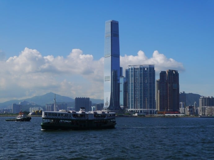 View From Star Ferry Crossing From Hong Kong Island To Kowloon