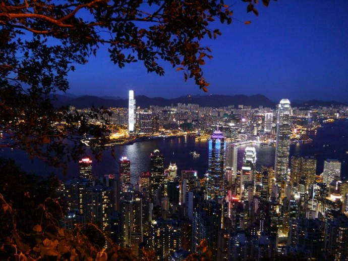 Night View From Lugard Road On Victoria Peak, Hong Kong
