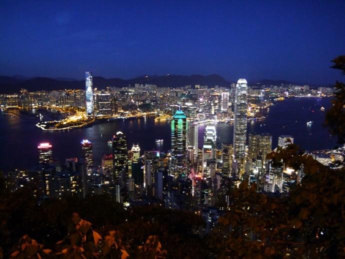 Night View From Lugard Road, The Peak, Hong Kong