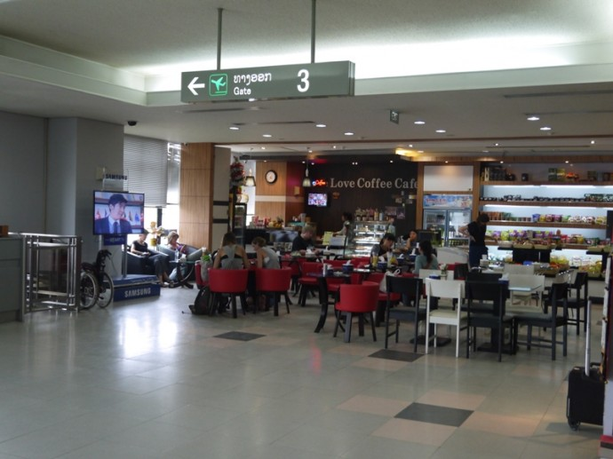 Cafe In Departure Lounge At Vientiane Airport
