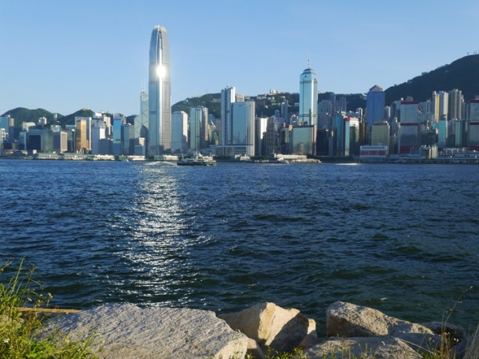 View Of Hong Kong Island From West Kowloon Waterfront Promenade
