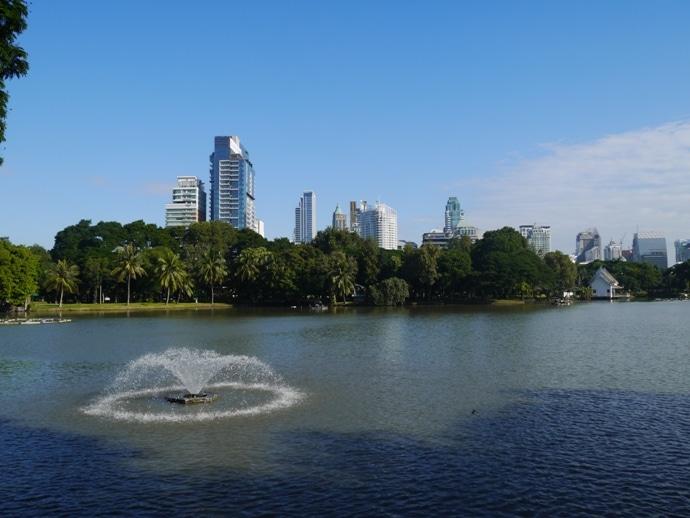 Bangkok City Skyline, As Seen From Lumphini Park