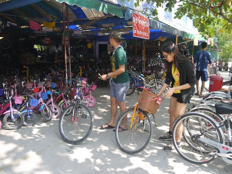 Renting Our Bikes For The Day At Rot Fai Park, Bangkok