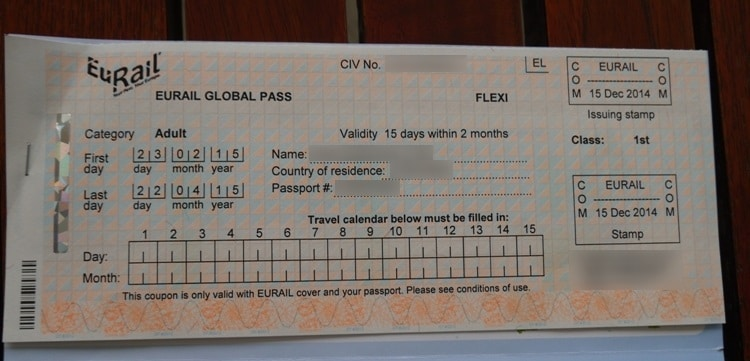 Eurail Global Pass 15 Days In 2 Months