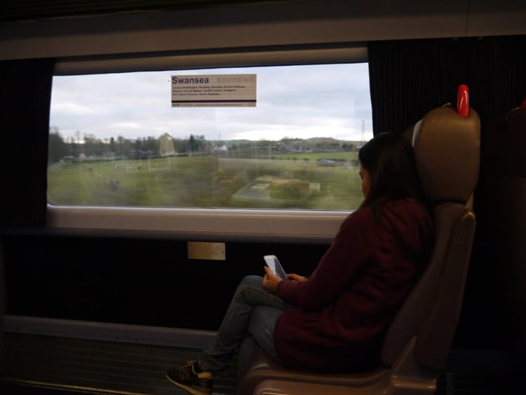 Miu Relaxing On The London To Swansea Train