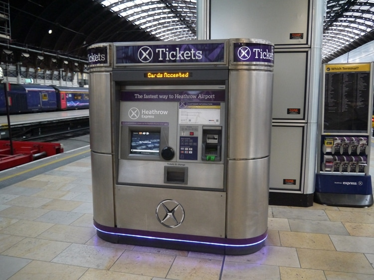 Heathrow Express Ticket Machine At Paddington Station, London