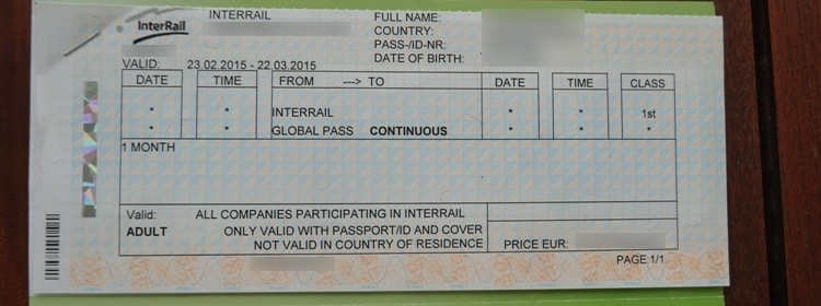 InterRail Global Pass 1-Month Continuous