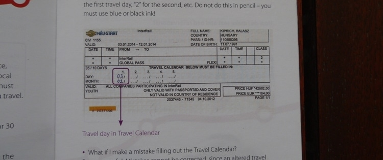 How To Fill In Your InterRail Global Pass
