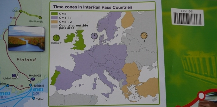 Time Zones In InterRail Pass Countries