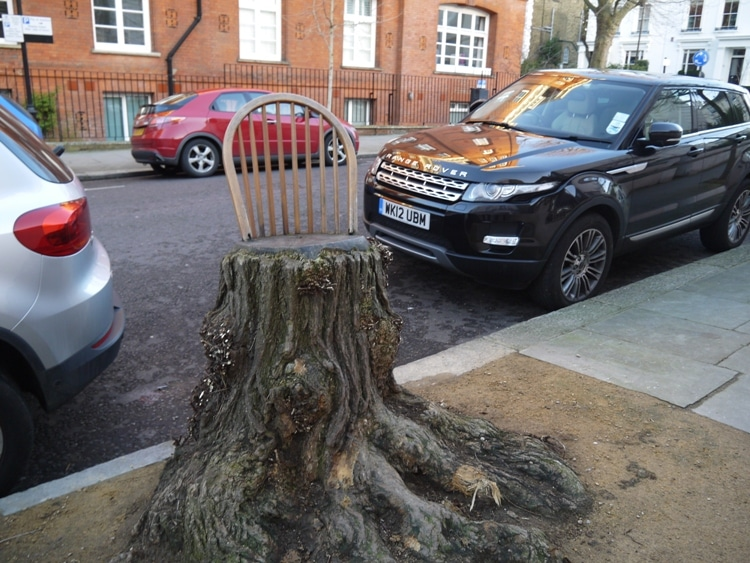 The Tree Stump That Thinks It's A Chair, Notting Hill, London
