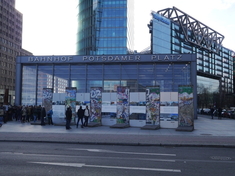 Sections Of The Berlin Wall Outside Potsdamer Platz Station