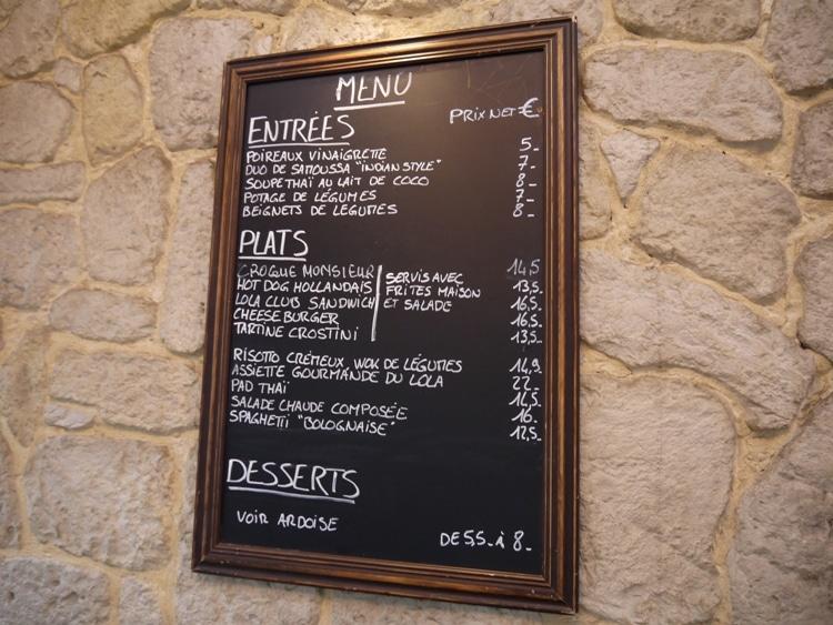 Menu At Brasserie Lola, Paris