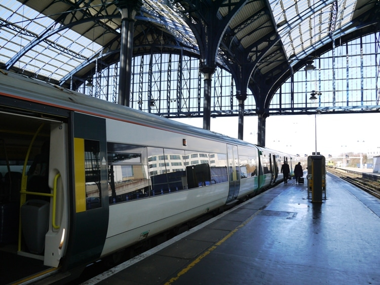 Our London Victoria Train About To Leave Brighton Station