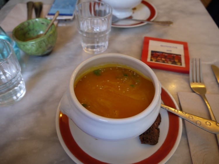 Pumpkin & Coconut Soup At Cafe Ginger, Bastille, Paris