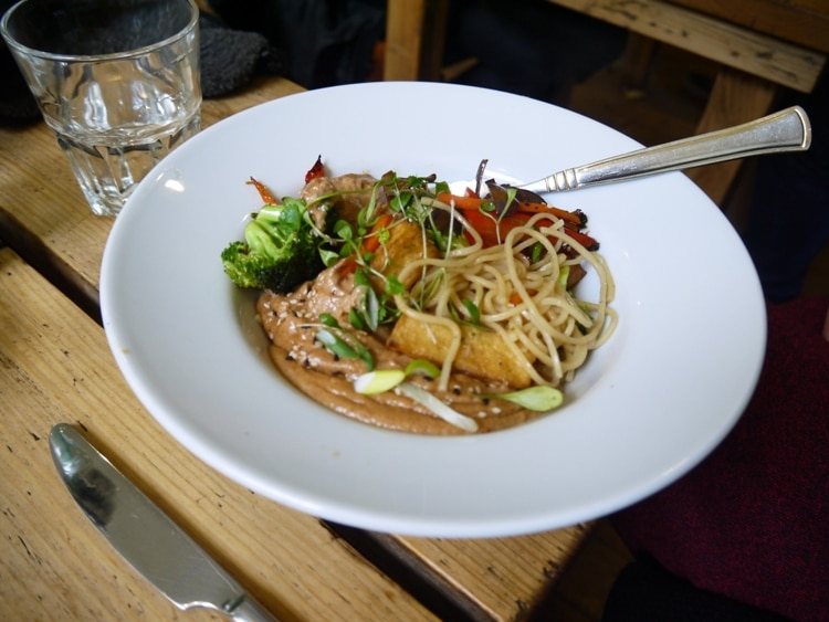 Sesame Ramen Noodles With Lime Satay At The Green Rocket Cafe, Bath