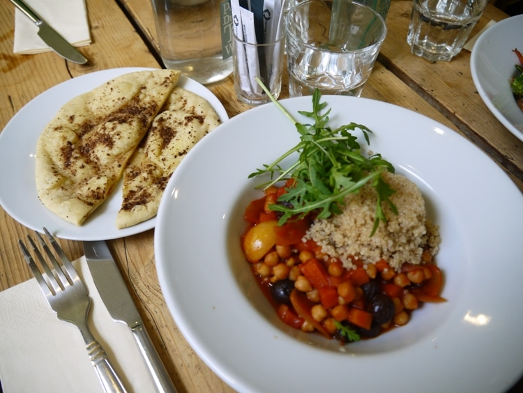 Preserved Lemon, Tomato & Chickpea Stew With Flatbread At The Green Rocket Cafe, Bath