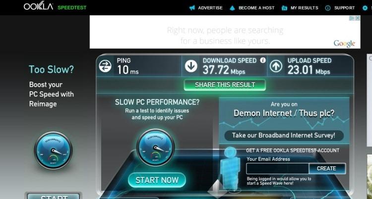 Wifi Speed Test At Jurys Inn, Plymouth