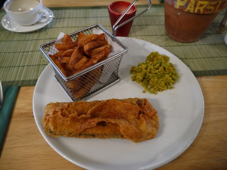 Vegan Fish, Chips Mushy Peas At Samphire Brasserie, Plymouth
