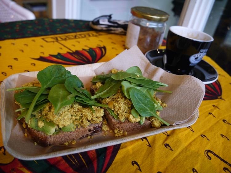 Scrambled Tofu, Avocado & Spinach Leaves Sandwich At Vegabond, Amsterdam