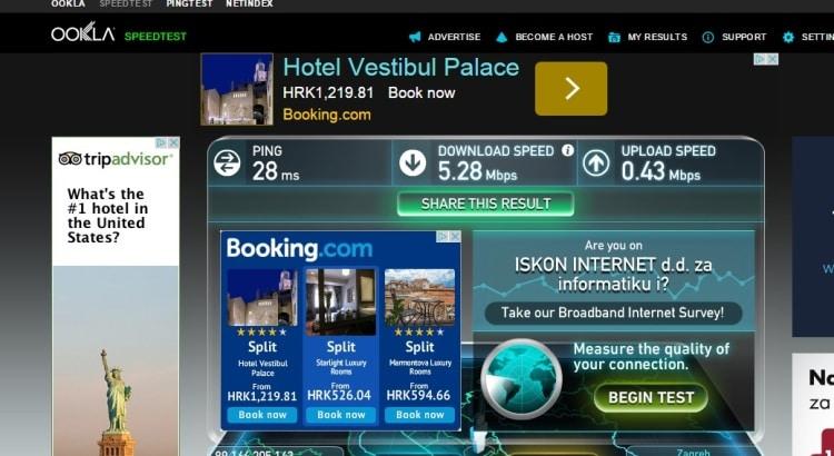 Internet Speed Test At Airbnb Apartment In Split, Croatia
