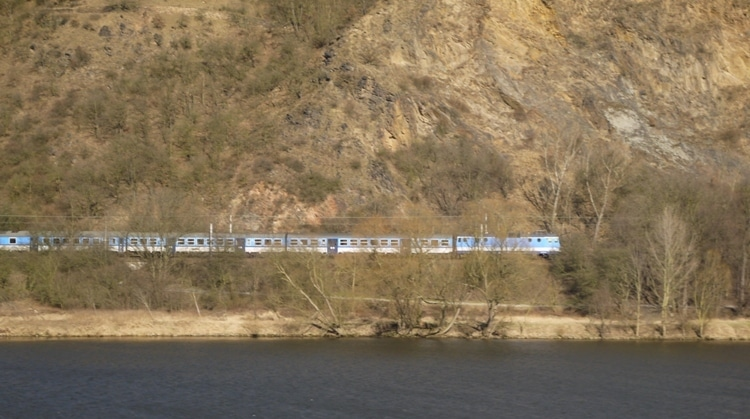 A Train On The Opposite Bank Of The River Elbe