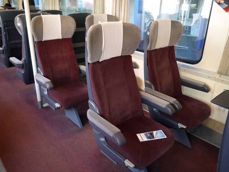 Comfortable Seats In First Class Carriage On The Bratislava To Budapest Train
