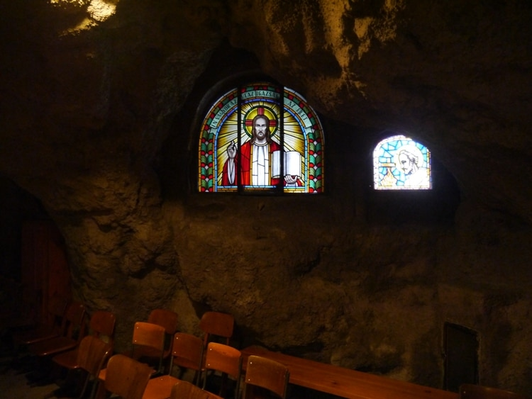 Stained Glass Windows At Gellert Hill Cave Chapel