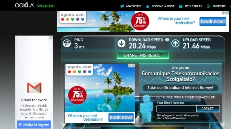 Internet Speed Test At Gozsdu Court Apartment, Budapest