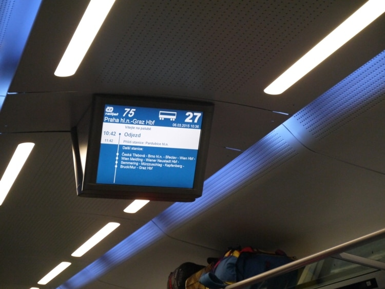 Information Screen On The Prague To Vienna Train