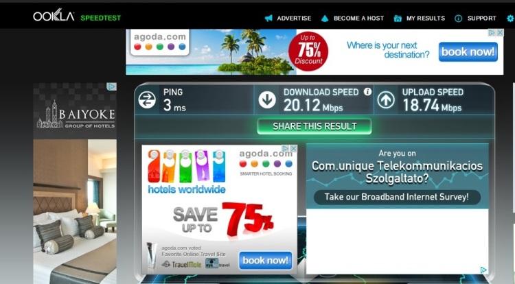 Internet Speed Test At Senator Apartments, Budapest