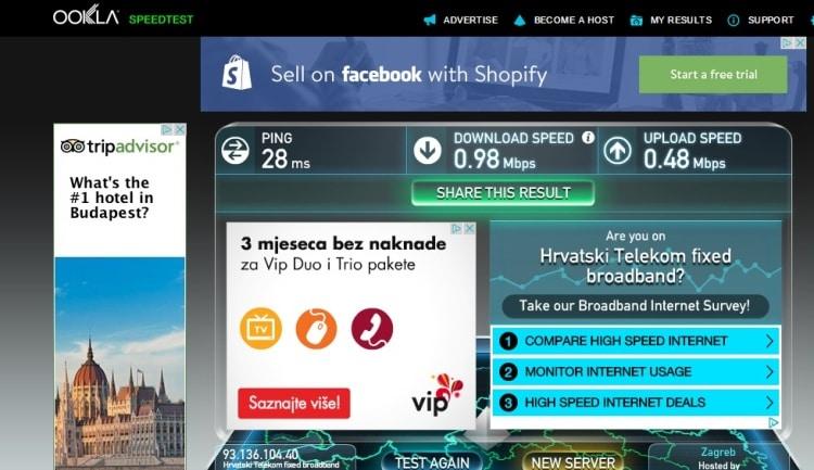 Internet Speed Test At Zagreb Center Apartments
