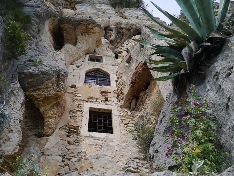 Caves on the hillside in Croatia.