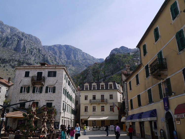Kotor Town Square Looking Towards The Mountains