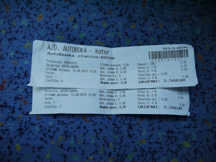 Our Tickets For The Kotor To Budva Bus, Montenegro