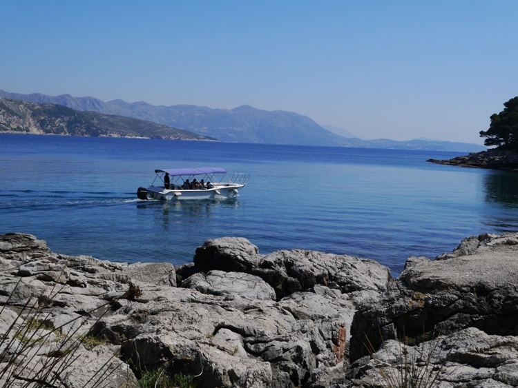 A Small Boat Passing Lokrum Island