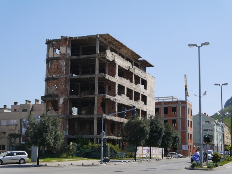 Bomb Damaged Buildings In Mostar, 2015