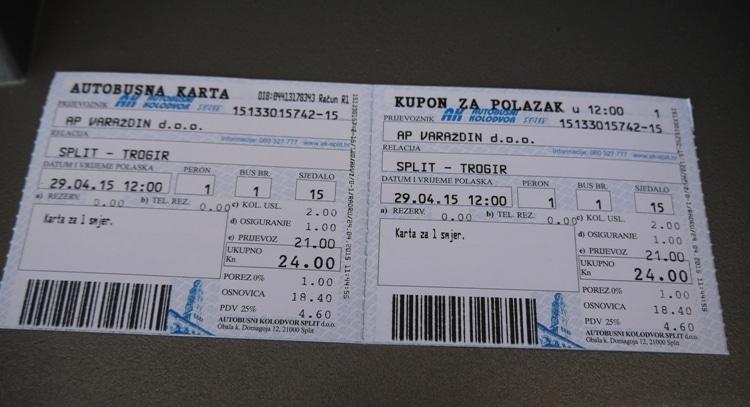 Split To Trogir Bus Tickets