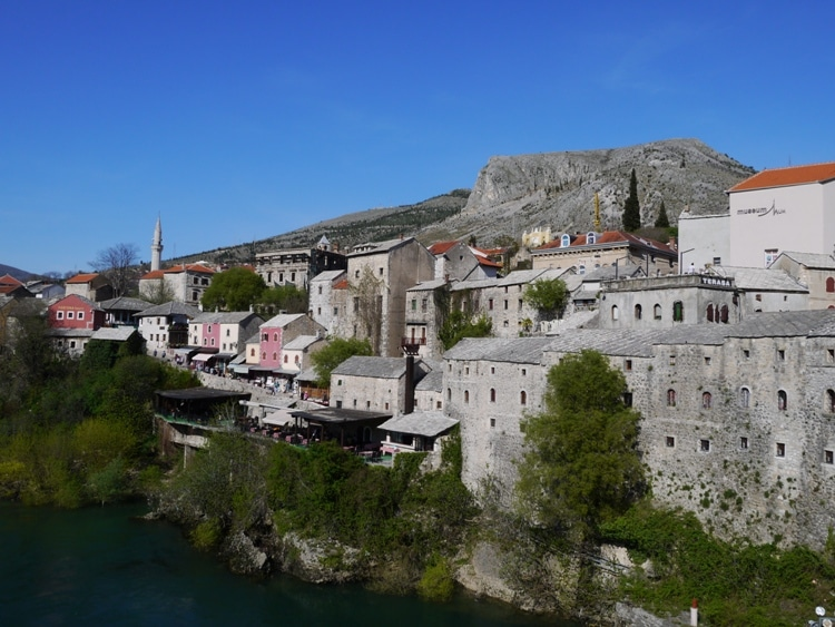 Restored Old Houses Next To Stari Most, Mostar, Bosnia
