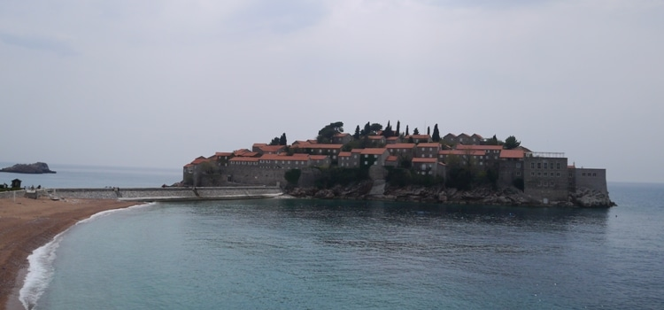 View Of Sveti Stefan Island From The Rocky Outcrop Steps