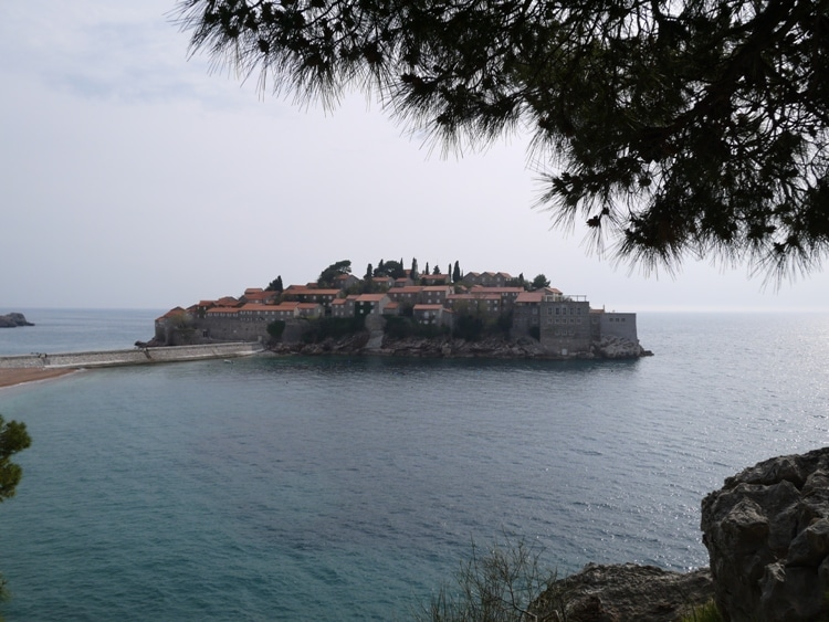 View Of Sveti Stefan From The Small Cliff