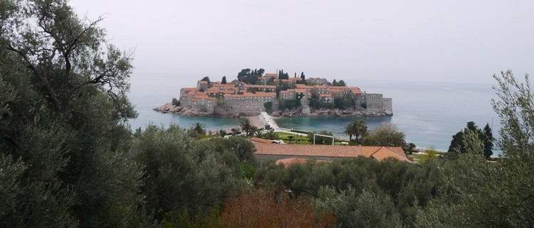 View Of Sveti Stefan Island From The Bus Stop