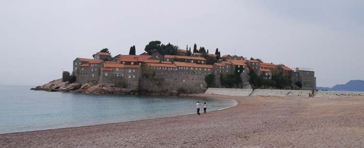 View Of Sveti Stefan Island From The Beach