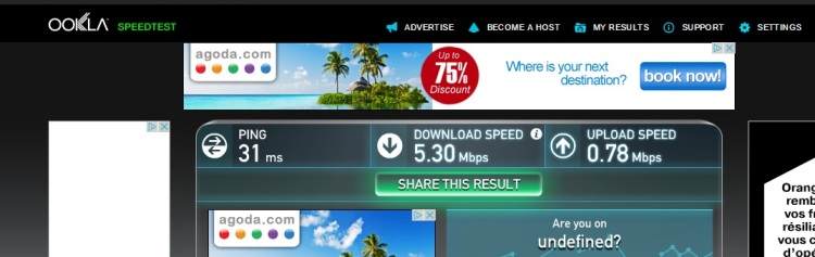 Internet Speed Test At Ibis Nice Centre Gare, Nice, France