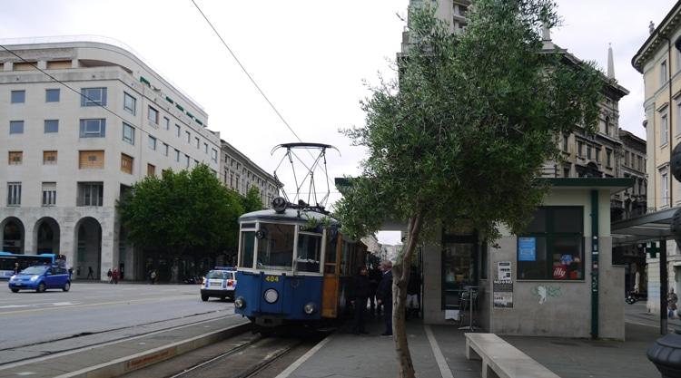 Trieste-Opicina Tram At Piazza Oberdan Terminus in Trieste