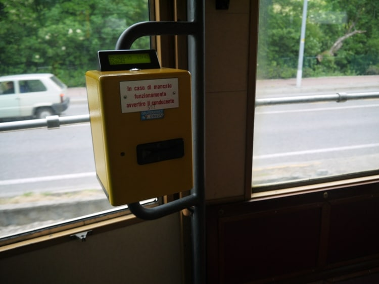 Ticket Validating Machine On Trieste-Opicina Tram