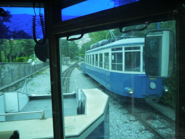 Passing Another Tram On The Funicular Section Of The Track