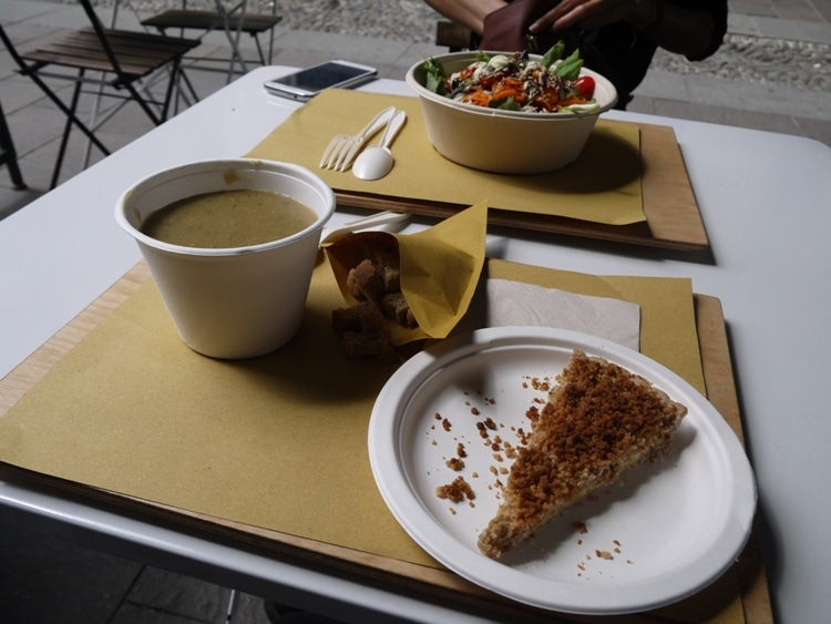 Salad, Soup & Apple Crumble At Radicetonda Vegan Cafe, Milan