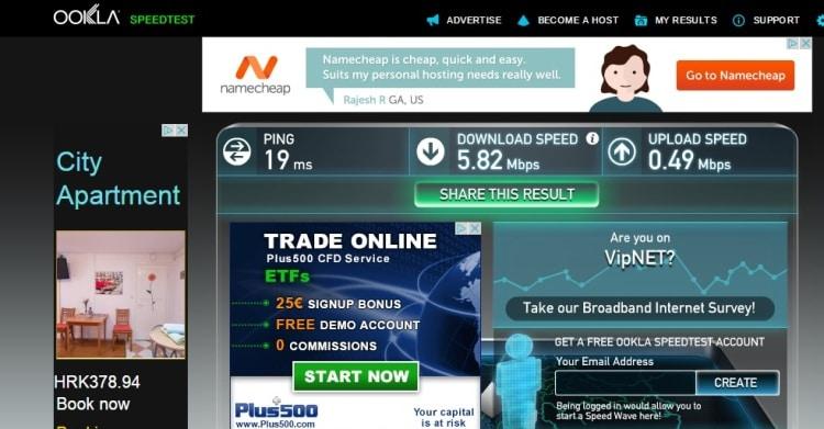 Internet Speed Test At Sunshine Apartments, Zadar, Croatia