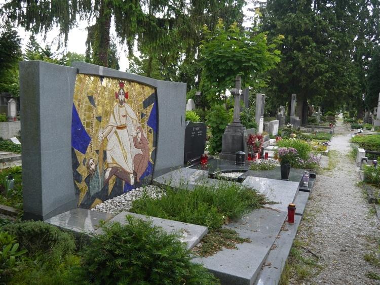A Colorful Headstone At Žale Cemetery, Ljubljana, Slovenia