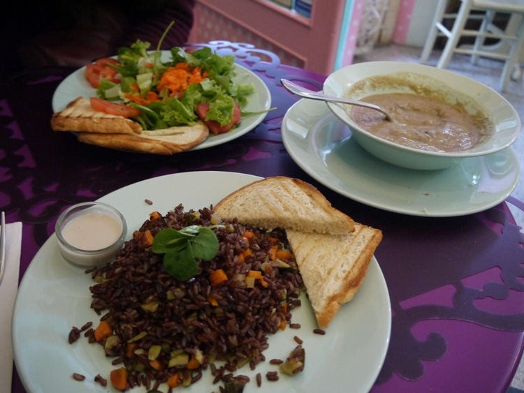 Red Rice With Vegetables, Been & Cauliflower Soup And Green Salad at Zoe Market & Food, Trieste, Italy